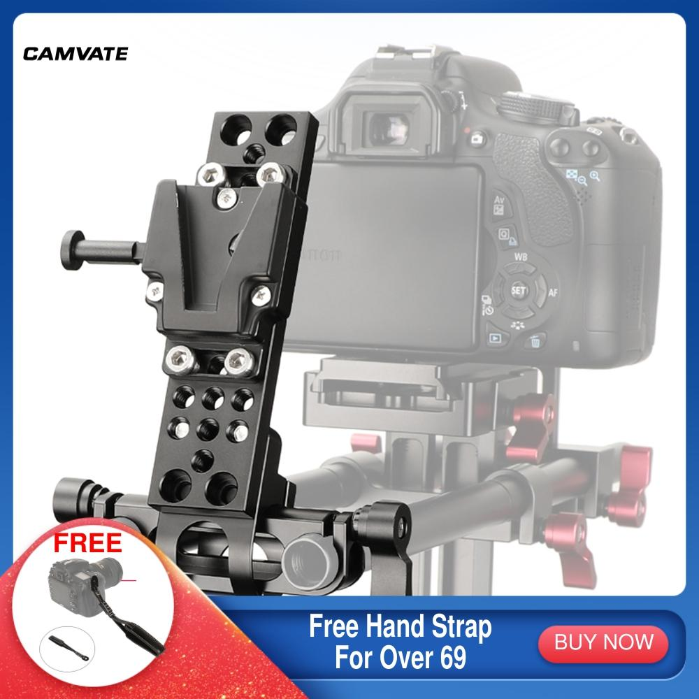 CAMVATE V-Lock Female Quick Release Adapter With Cheese Plate Rectangle Shape & 15mm Railblock For DSLR Camera Battery Mounting