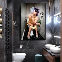 modern naughty girl picture wall art canvas painting modern sexy girl posters prints washroon decoration toliet decor pictures