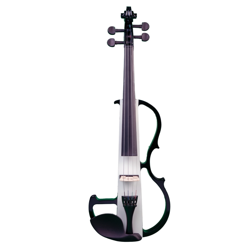 Full Size 4/4 Solid Wood Metallic Electronic Silent Solidwood Violin Set w/Violin Case+Bows+Strings+Rosin+Audio Cable+Headphone enlarge