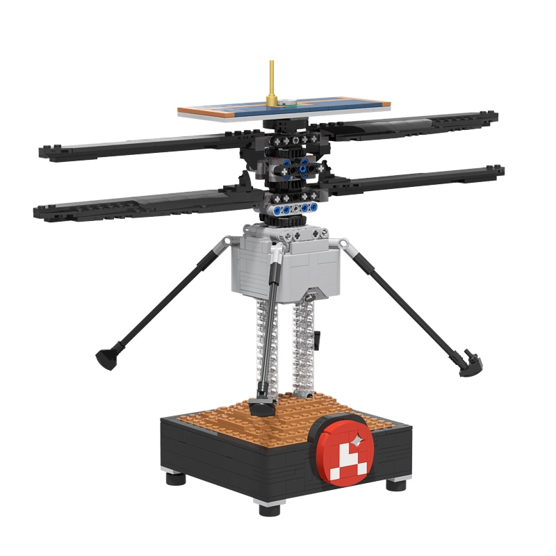 MOC Mars Helicopter High-Tech Space Station Building Blocks Copter Fighter Airplane Model Bricks Creative Toys for Children Gift moc constrictor ii playable interdictor cruiser space battle high tech military transport model building blocks toy for children