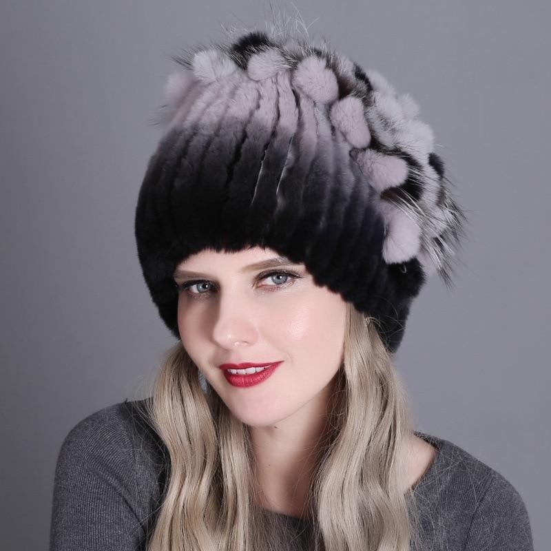 المرأة محبوك قبعة فرو منك أنماط قبعة الفرو الإناث مع كرة فرو الثعلب بطانة النساء الشتاء أغطية الرأس الفتيات القبعات ل Beanies