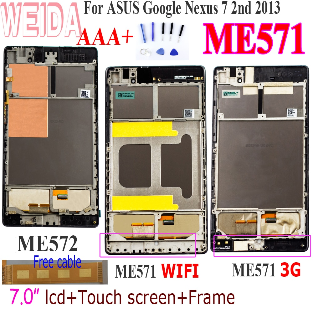 WEIDA For Asus Google Nexus 7 2nd Gen Nexus7 2013 ME571 LCD Touch Screen Assembly + Frame ME571KL ME571K K008 ME572CL ME572 LCD