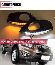 Dimmming Stijl Relais 12 V Led Auto Drl Dagrijverlichting Accessoires Met Mistlamp Gat Voor Hyundai Santa Fe 2010 2011 2012