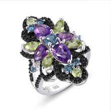 GZ ZONGFA моды натуральный голубой топаз Черный шпинель камень 925 Серебряные кольца для женщин на заказ, хорошее ювелирное изделие