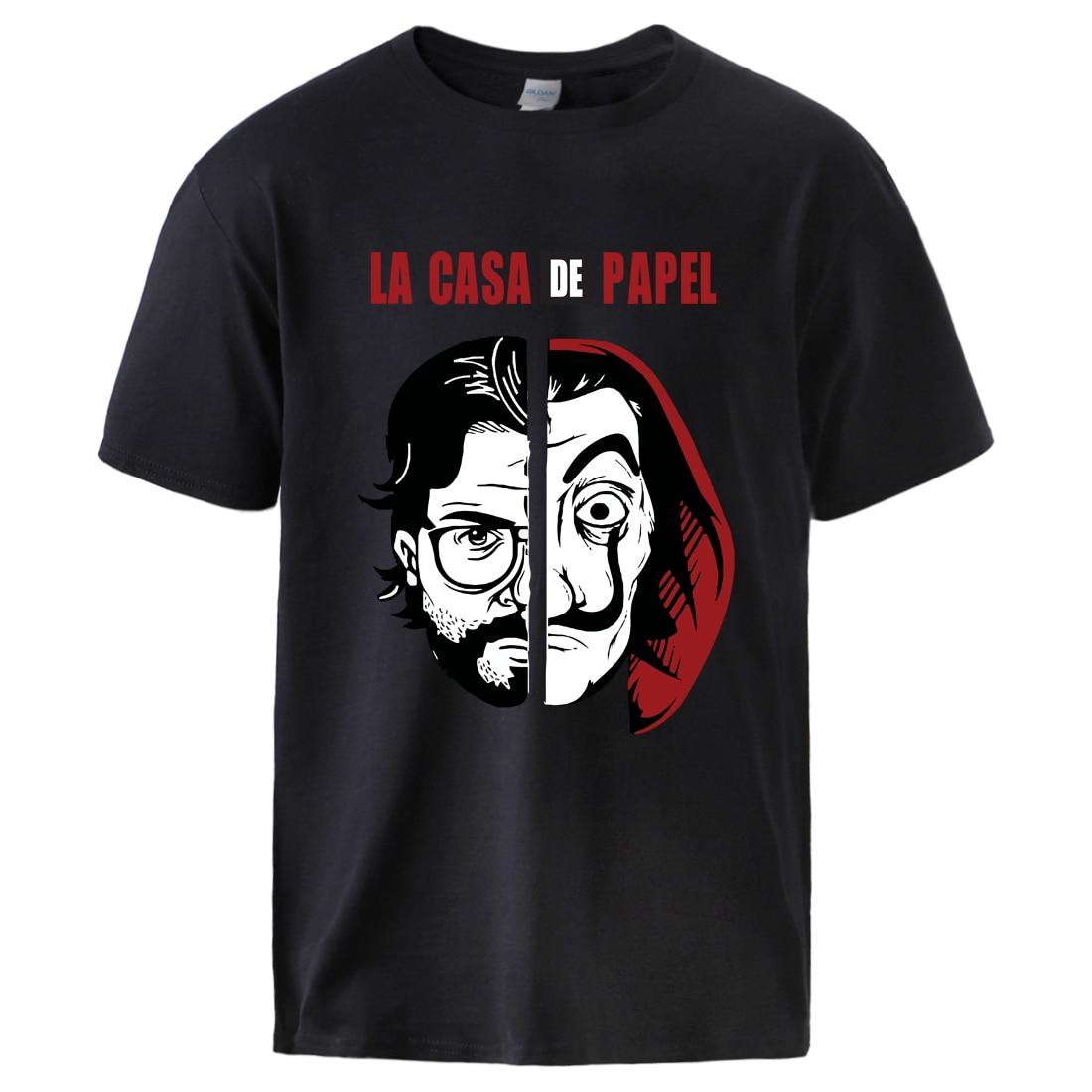 La Casa De Papel Horror Movie Tshirts Man Causal Loose Cotton T shirt 2020 Summer Short Sleeve Sportswear T shirts Male Cool Top