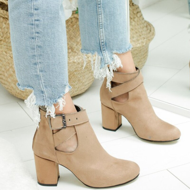 Hollow Out Zipper Boots Heel Casual Shoes Woman Solid Color Ankle Boots Women Comfortable Boots Fash
