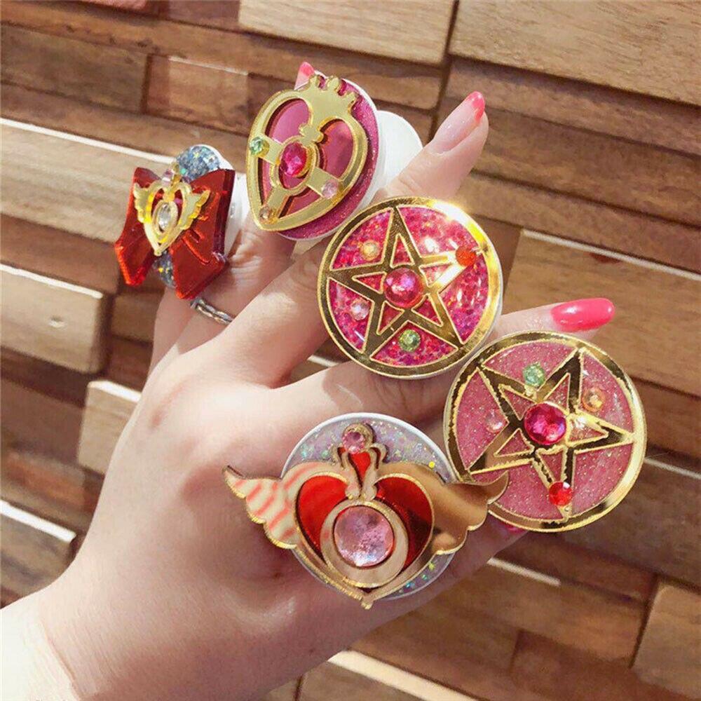 Universal Sailor Moon, soporte elástico para teléfono, soporte para Dedo de dibujos animados