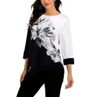 plus size shirt for women 4xl 5xl contrast color mesh patchwork clothes hipster t shirt floral print irregular hem shirt elegant