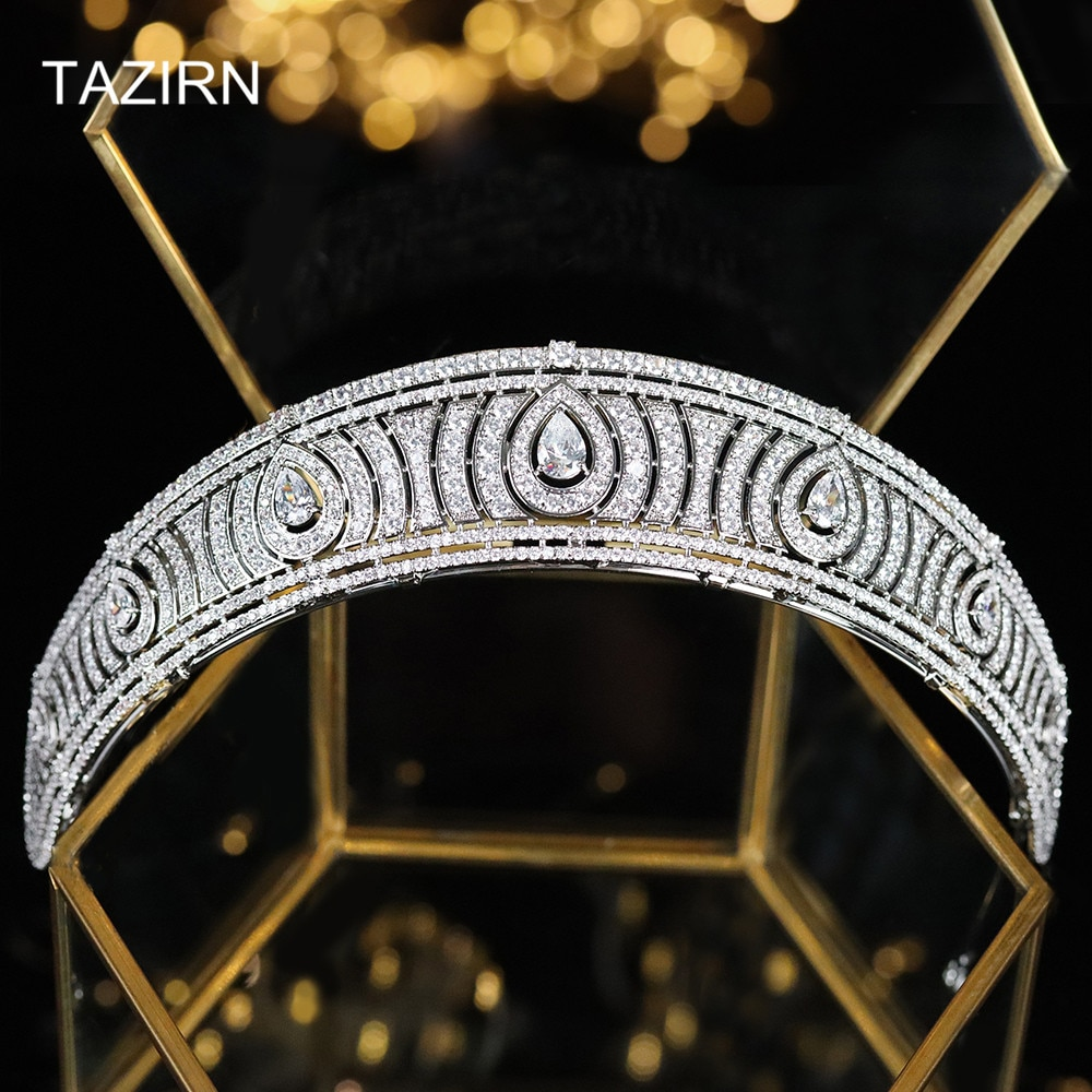 Cubic Zirconia European Royal Princess Wedding Bridal Tiaras and Crown CZ Party Headpieces Zircon Pageant Hair Jewelry for Women