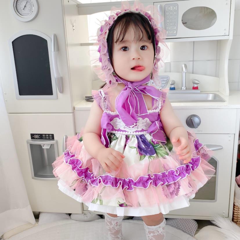 3 قطعة طفل الفتيات الملابس الإسبانية خمر لوليتا الأميرة الكرة ثوب الدانتيل القوس طباعة لطيف اللباس لفتاة عيد ميلاد عيد الفصح اللباس Y3170