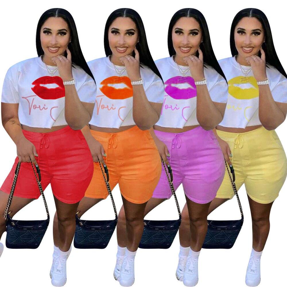 Women Set Lip Print Short Sleeve Loose Crop Tops Drawstring Waist Elastic Shorts Pockets 2 Piece Set Tracksuit Outfits