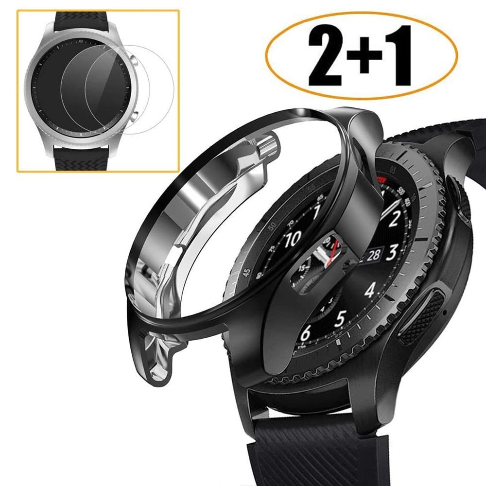 Funda protectora para Samsung Galaxy Watch, Protector de pantalla de vidrio templado...