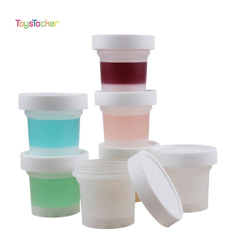 10 Pc/esmerilado 150ML contender de cajas de plástico caja para Slime, lodo arcilla DIY accesorio Baba caja de almacenamiento con tapa botella de limo de la herramienta