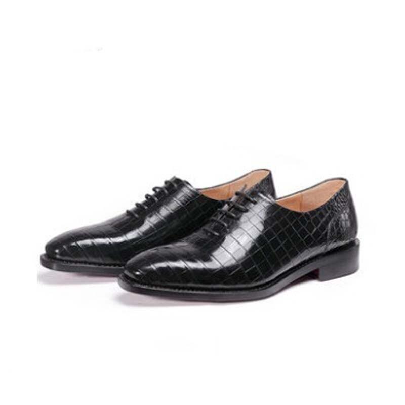 Ouluoer-أحذية جلدية للرجال برباط من جلد التمساح ، أحذية زفاف ، أحذية عمل رسمية ، مستوردة