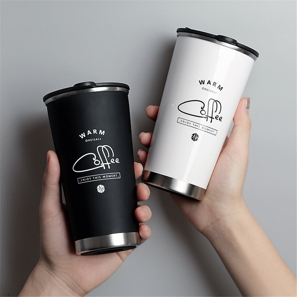 Termo de doble pared de acero inoxidable taza 400ML frasco de vacío blanco negro termo botella de agua taza de viaje portátil pareja regalos