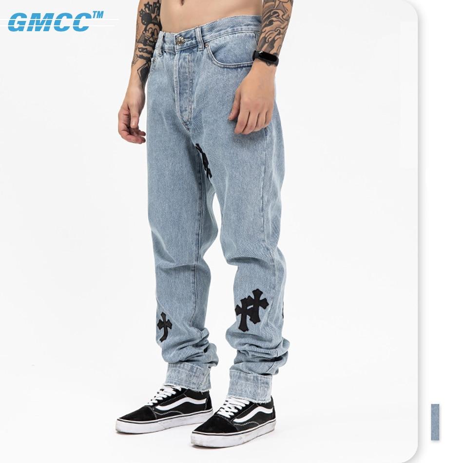 Marque De Luxe Homme jeans Brand 2021 High Street Urban Denim Trousers For Men Original Leather Cross Baggy Straight Man Pants