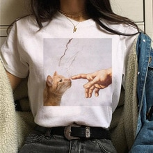 Kat Van Gogh T-shirt Vrouwen Art Print Olieverf Mooie Leuke Grappige T-shirt 90S Cartoon Ulzzang Casual Top t-shirt Vrouwen
