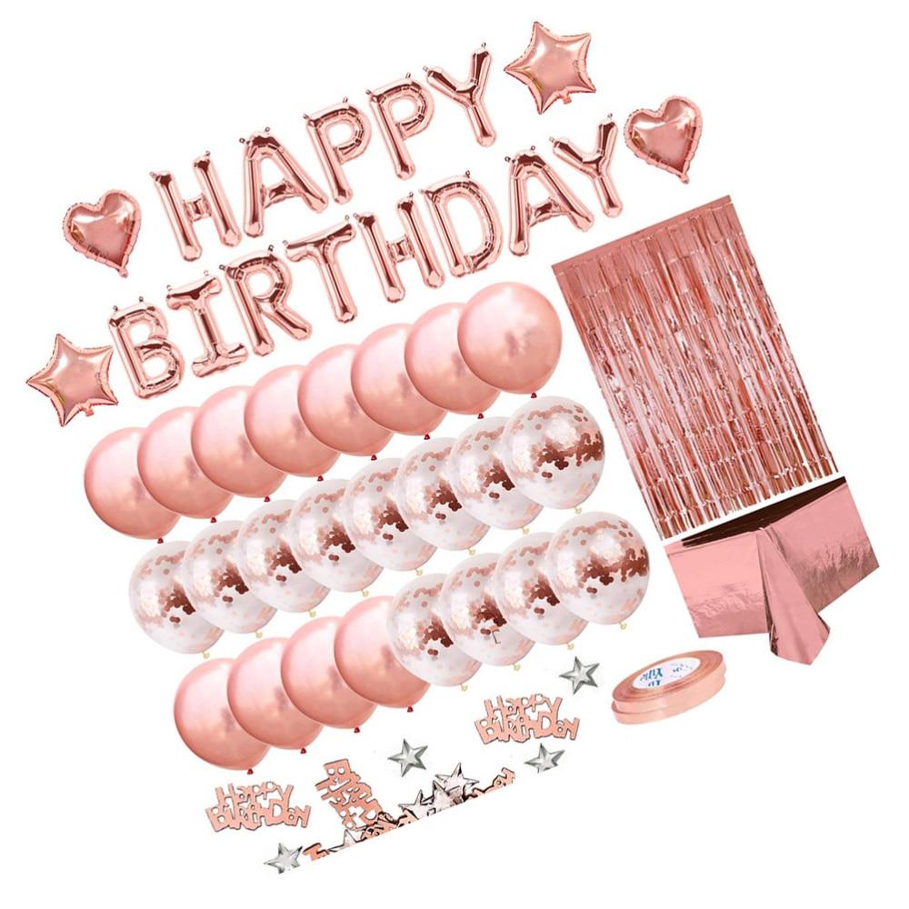 1 Set Globo de oro rosa Kits de decoración de fiesta de cumpleaños suministros de diseño Birthdat mantel