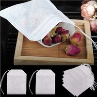 100pcs disposable tea filter bags empty cotton drawstring seal filter tea bags for loose leaf teal teabags with string
