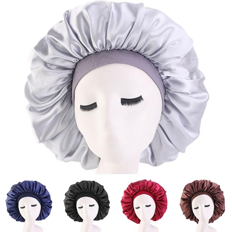 Bonnet en Satin couleur unie Turban chimio chapeau femmes large bande élastique solide nuit sommeil bonnets Skullies chimio casquette mode