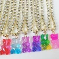 vg 6ym fashion multicolor transparent bear necklace cute candy color resin gummy bear pendant necklace women jewelry wholesale