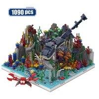 city jurassic dinosaur alternative build model building blocks sea world animal coral reef bricks diy toys for children