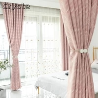 modern simple nordic light luxury jacquard curtain pure color chenille custom shading curtains for living dining room bedroom
