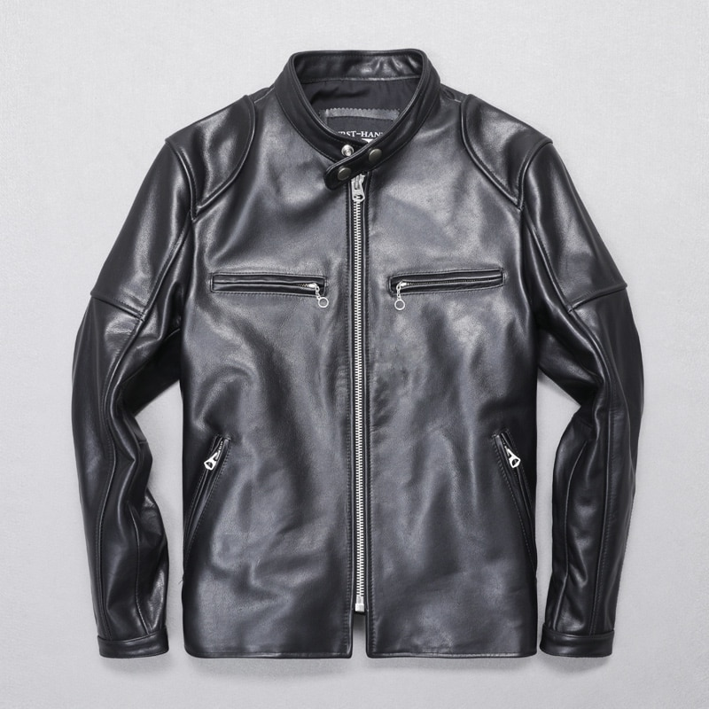 Nueva chaqueta de piel de vaca de calidad con envío gratuito 2020. Chaqueta corta de piel auténtica delgada para hombre. Chaqueta de conductor atractiva. Ventas