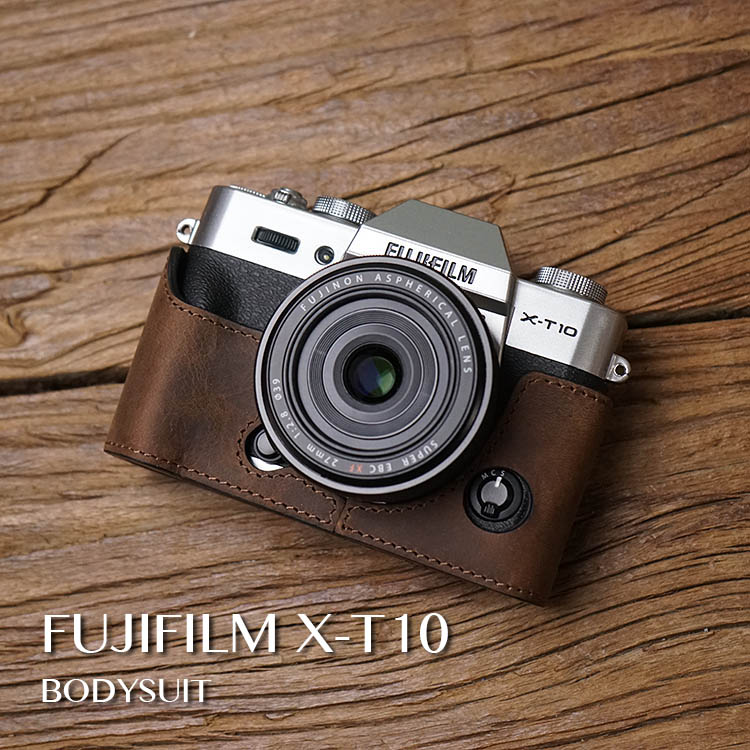 AYdgcam Handmade Genuine Leather Camera case For Fuji Fujifilm XT10 XT20 XT30 Video Half Bag Retro Vintage Bottom Case