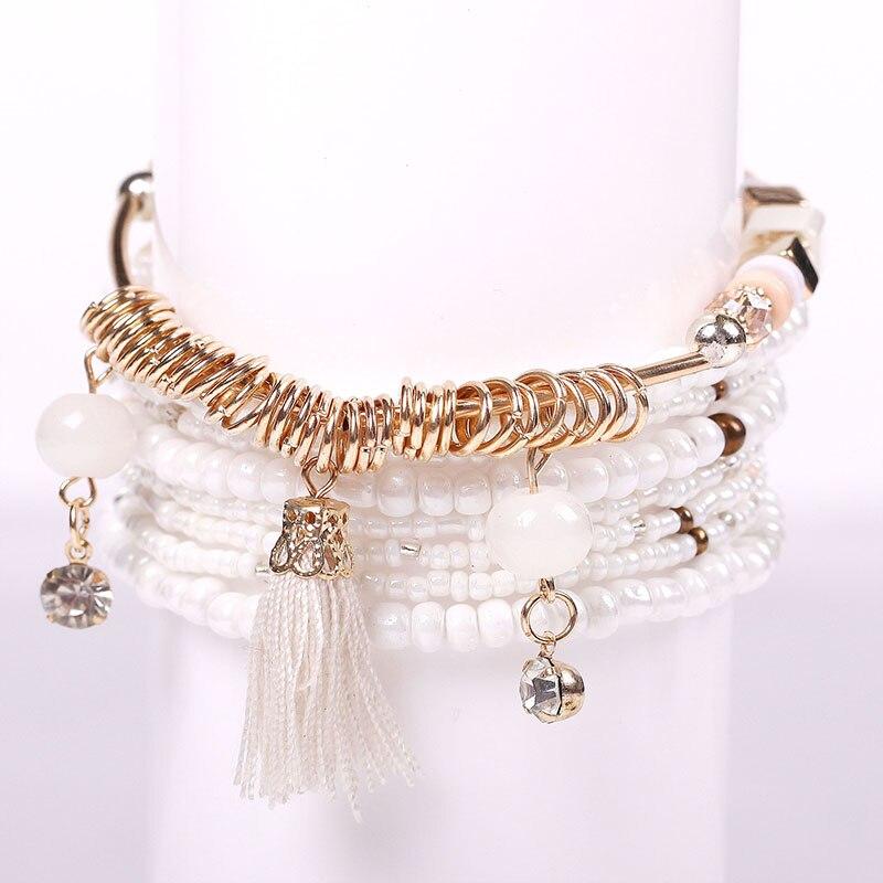 2020 boêmio multicamadas grandes grânulos charme pulseiras conjunto boho yoga wrap borla pulseiras para mulher