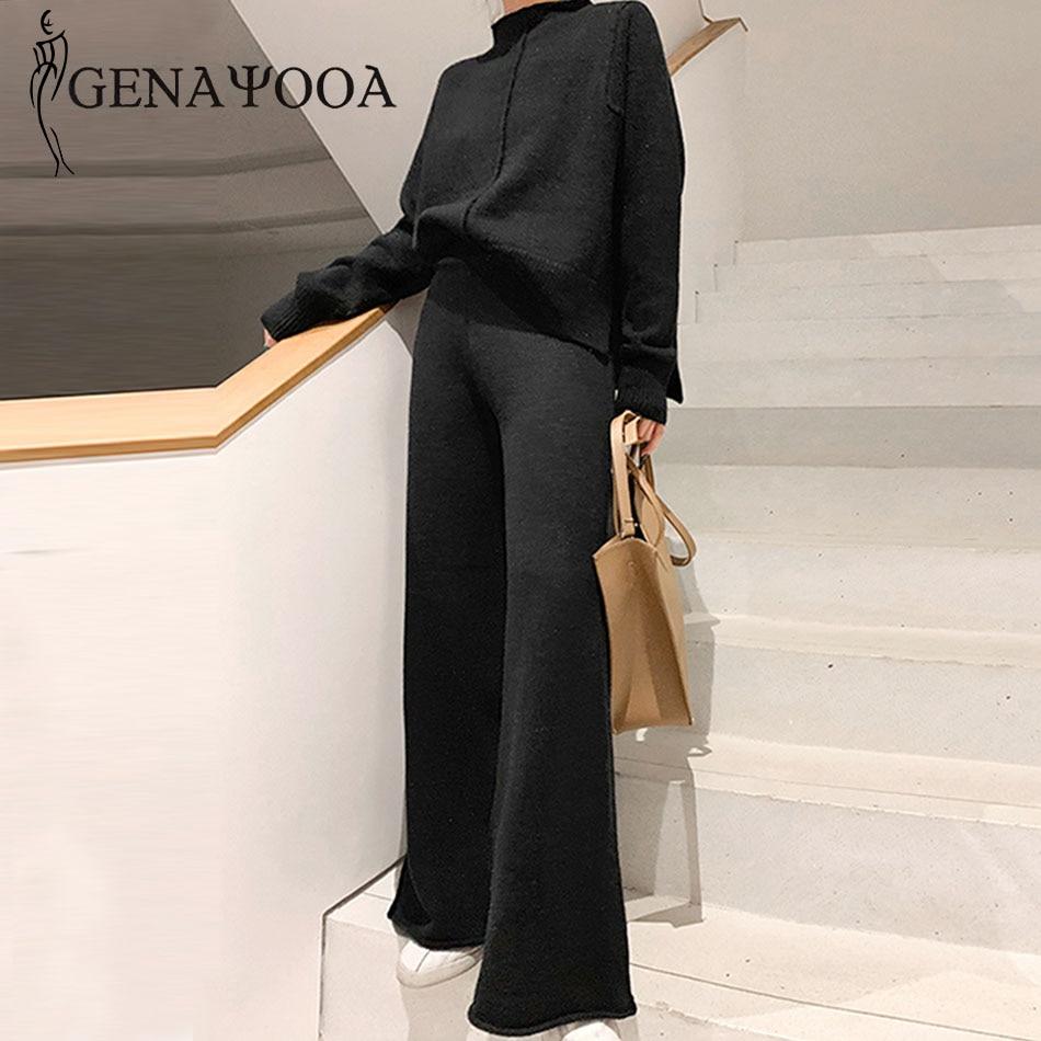 Genayooa Two Piece Set Pullover Sweater Tracksuit Women High Waist Knit Wide Leg Pants Women Suit 2 Piece Set Women Winter 2020