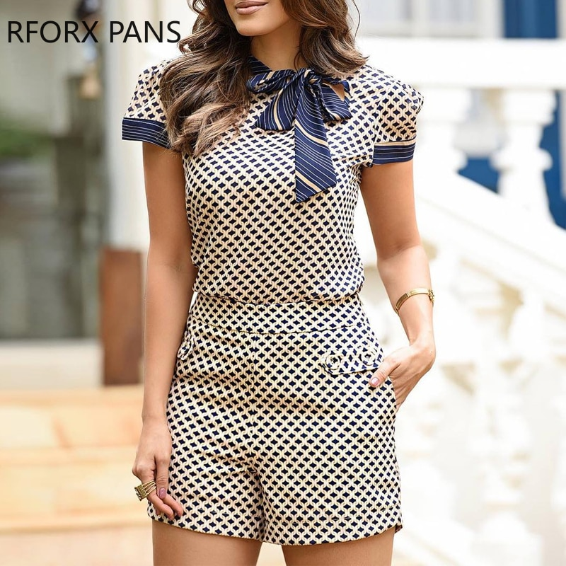 Women Casual Geometry Print Short Sleeves Ribbon Top & Pocket Design Shorts Set Two Pieces Set