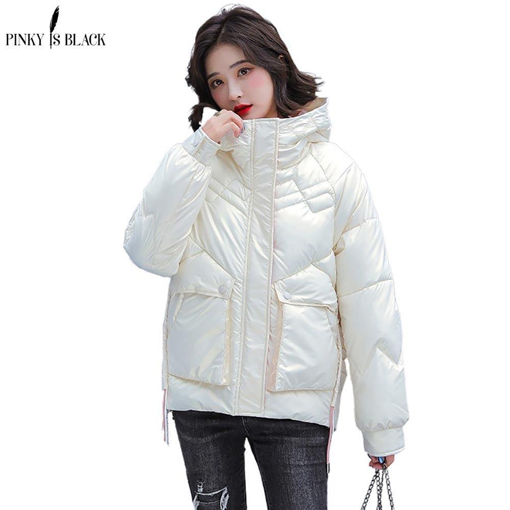 Женские зимние короткие парки PinkyIsBlack, куртка, повседневные женские утепленные ветрозащитные блестящие женские зимние куртки и пальто