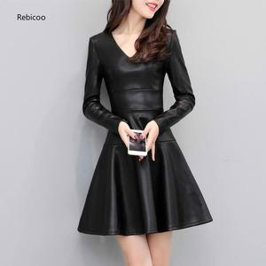 Autumn Winter Black PU Leather Long Sleeve Dress Women Slim Plus Velvet Dress Short Sexy Leather Plus Size Dress