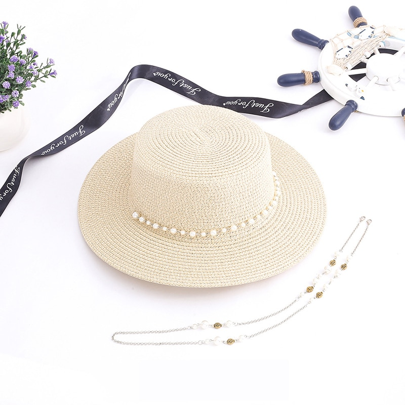 Novo estilo de verão protetor solar chapéu senhora versão coreana pára-sol pequena tampa superior plana praia ao ar livre chapéus palha lad talão corrente