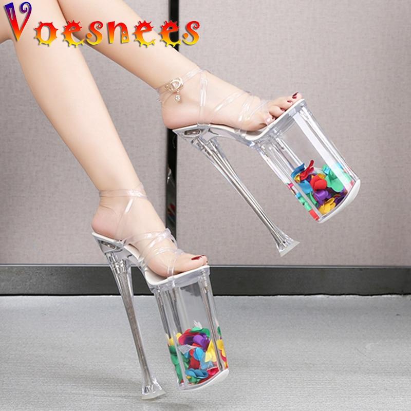 حذاء نسائي بكعب عالٍ للغاية ، صندل لامع بنعل شفاف ، مقاوم للماء ، أحذية الحفلات ، 26 سنتيمتر ، 2021