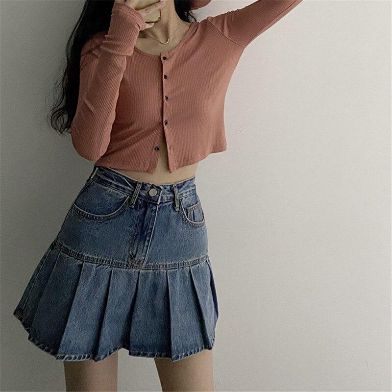 Защита летние пляжные джинсы юбка джинсовая юбка в складку для женщин Harajuku Горячая сексуальная Женская Ковбойская юбка верхняя сексуально... юбка в складку