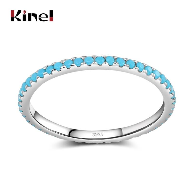 Классическое изысканное кольцо Kinel из тибетского серебра с бирюзовым шармом, составное кольцо на палец для женщин, модные изящные ювелирные изделия