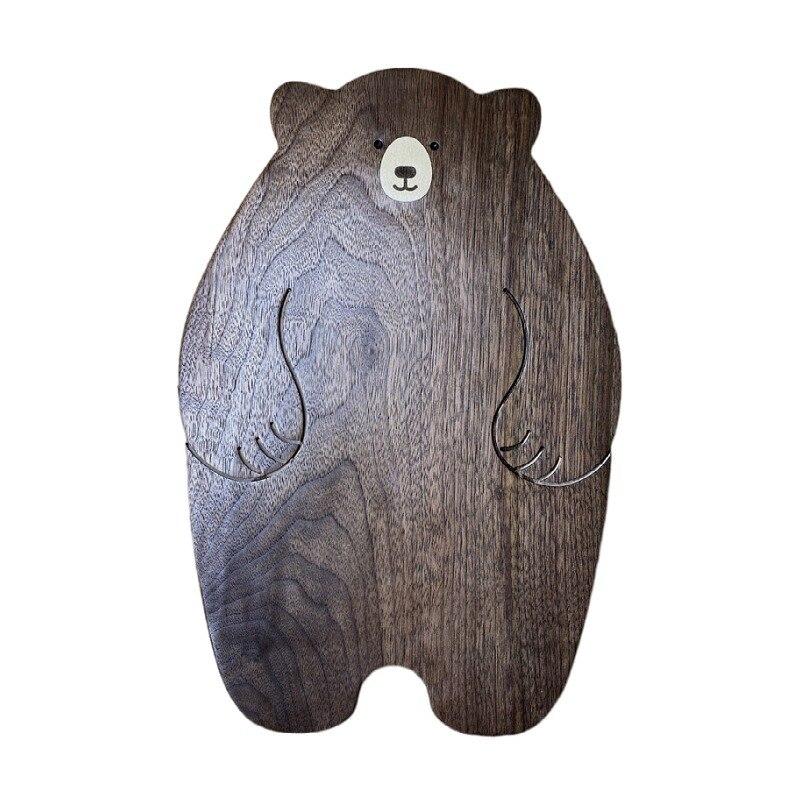الدب طبق عشاء خشبي اليابانية لطيف Ins الإبداعية شخصية البندول الدعائم الجوز الأسود صينية اليدوية بالجملة 20*30*2 سنتيمتر