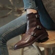 Bottes style Chelsea en cuir véritable pour femme, bottines à bout rond, chaussures de qualité, boucle carrée, talon bas, nouveauté, saison automne, 2020
