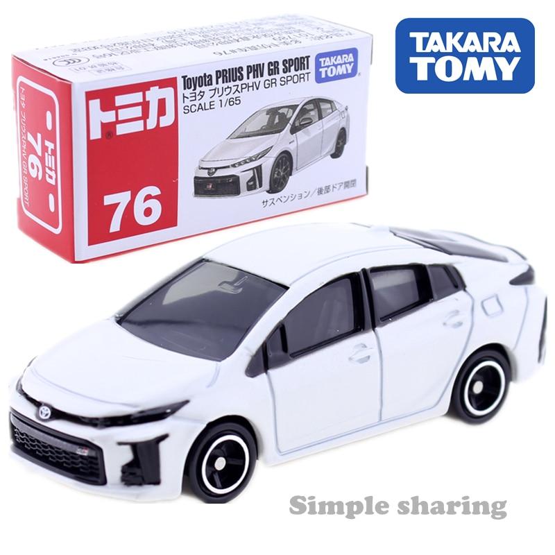 Takara Tomy Tomica No.76 Toyota Prius PHV GR Sport car model kit 1:65 mini car toy Diecast hot kids dolls miniature baby Toys