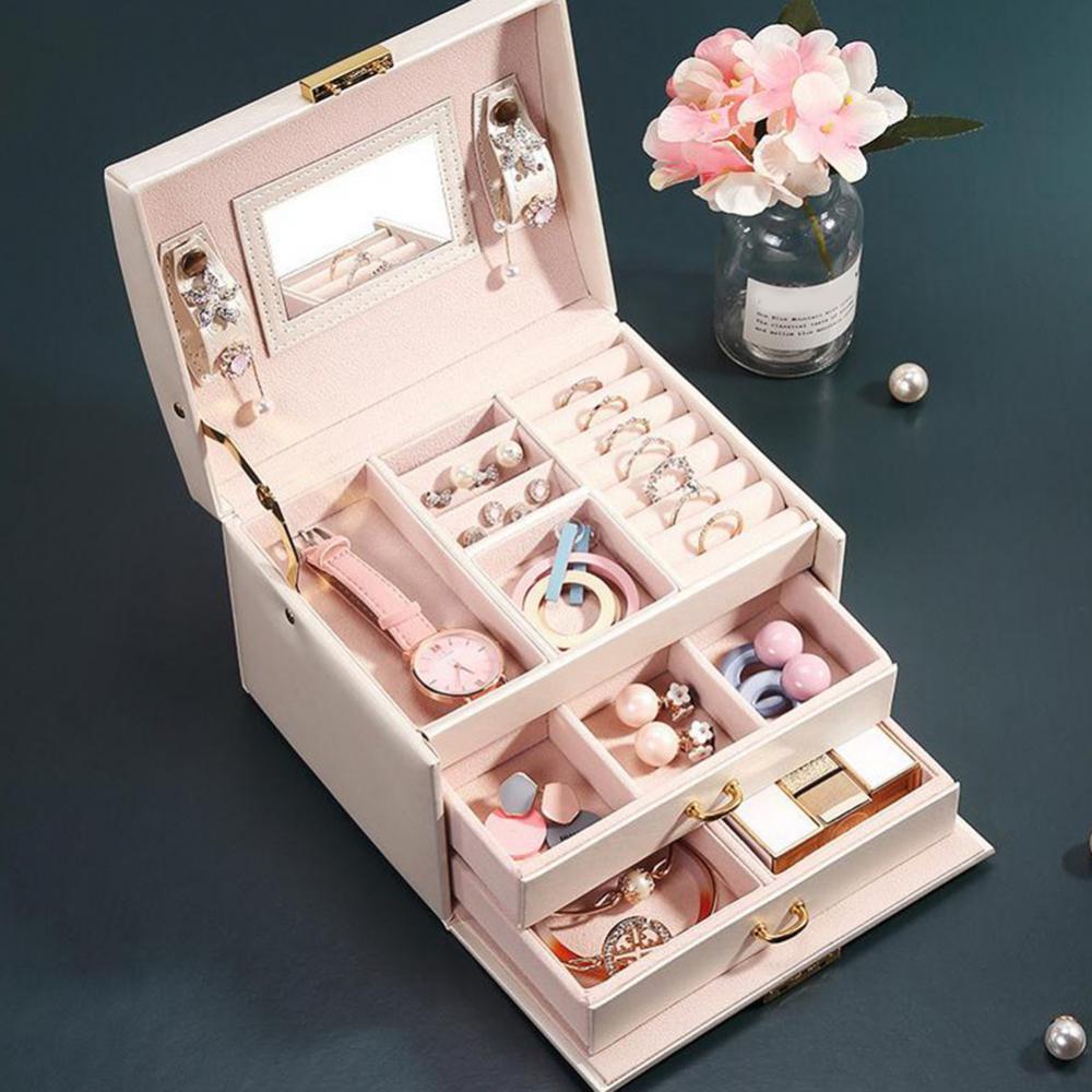 sobuy fsr30 w storage bench 3 drawers Women 3 Layers 2 Drawers Necklace Jewelry Cosmetics Organizer Holder Storage Case