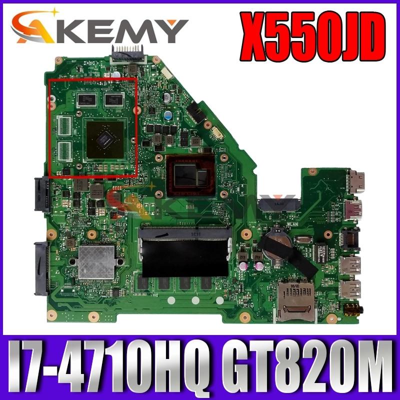 Akemy X550JD اللوحة لابتوب ASUS X550JD X550JK X550JX FX50J ZX50J A550J اللوحة الأصلية 4GB-RAM I7-4710HQ GT820M