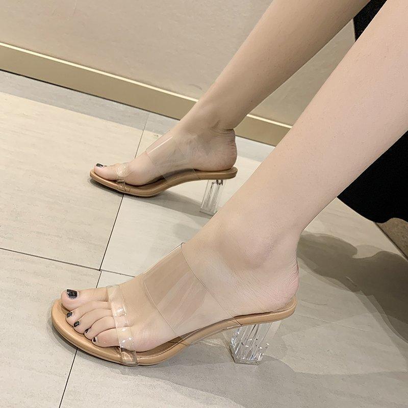 2021 summer new transparent women's sandals sexy high heeled shoes women's high heeled Slippers Size 42