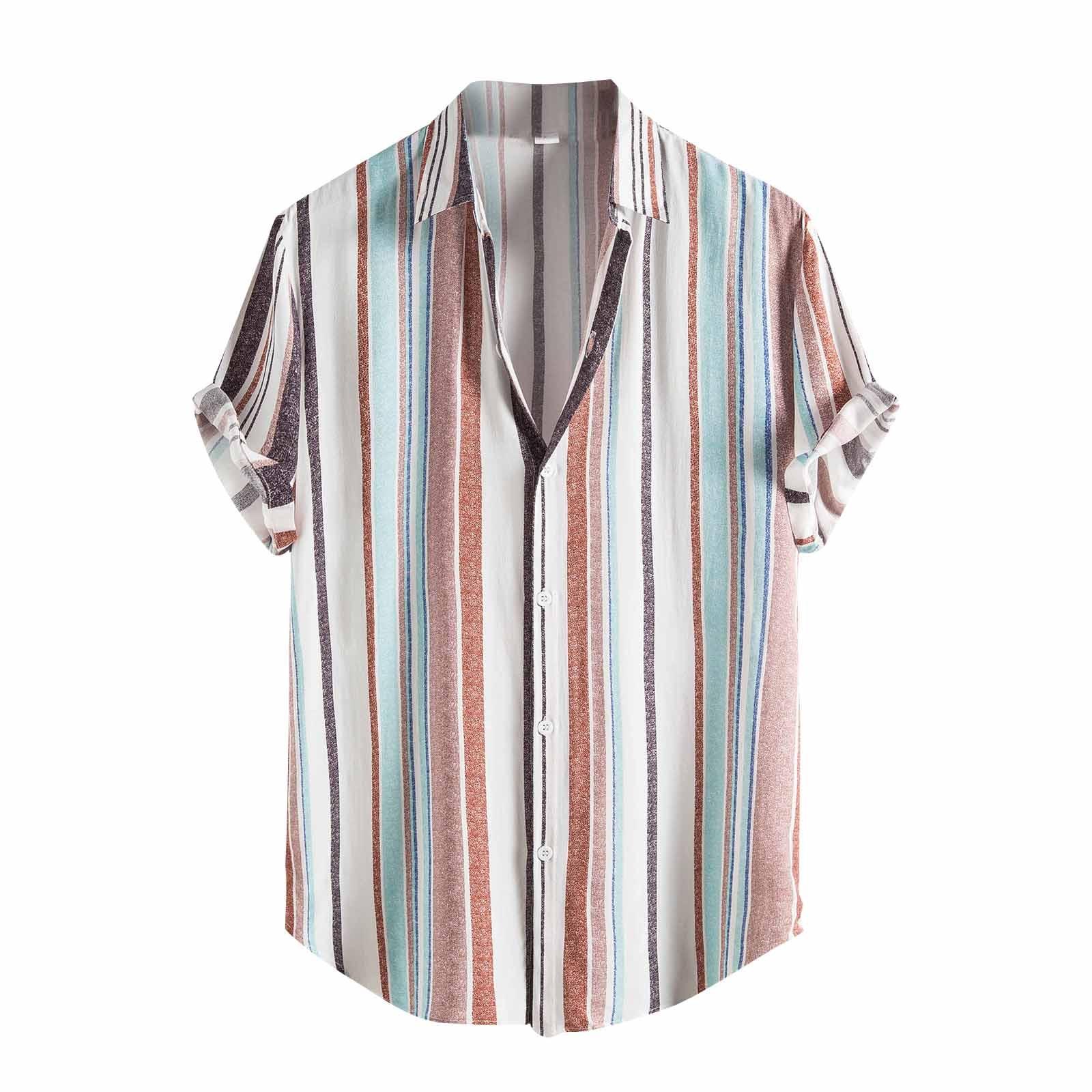 2021 Summer Fashion Men Shirts Casual Short Sleeve Stripe Shirt High Quality Men Clothing Tops Vestidos Dress Shirts Camisas