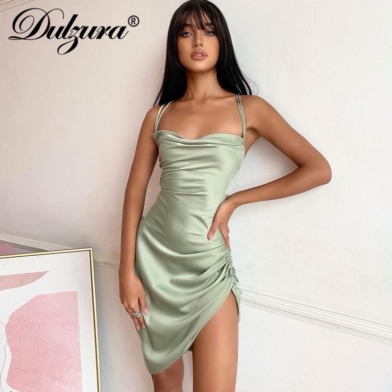 Dulzura Satin Women Strap Mini Dress Ruched Lace Up Cross Bandage Backless Bodycon  Party Elegant 2020 Club Christmas Slim