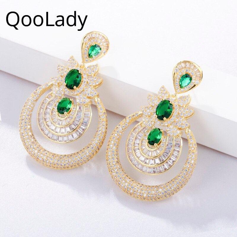 QooLady lujo Dubái oro amarillo accesorios nupciales Zirconia cúbica verde largos pendientes colgantes joyería de las mujeres para la boda E029