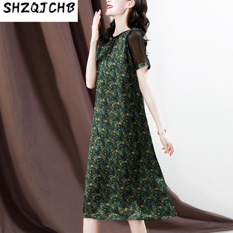 SHZQ الراقية فستان حريري المرأة رقيقة التوت الحرير تنورة الصيف