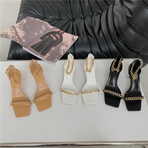 Beige Heeled Sandals 2021 Summer Sale Of Women's Shoes Espadrilles Platform Square Toe Med Black New Comfort Girls Fashion High