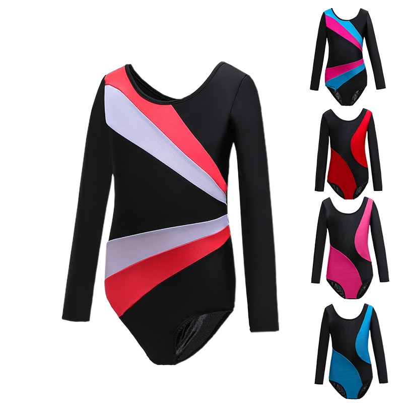 Kids Girls Dancer Gymnastic Patchwork Leotard Ballet Dance Wear Cotton Bodysuit Collant Costume For Stage Performance Clothes